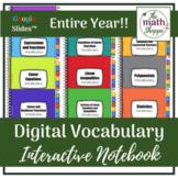 Algebra I WHOLE YEAR Digital Vocabulary Interactive Notebo