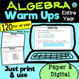 Algebra I Warm Ups Bell Ringer Do Now - Entire Year | PAPE