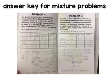 Algebra 1 - Weighted Average, Mixture, and Uniform Motion Problem Foldables