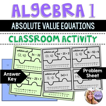 Algebra 1 - Absolute Value Equations Matching Solutions to Graphs - Puzzle Game