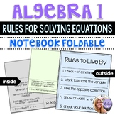 Algebra 1 - Rules and Steps for Solving Equations - Flip Book