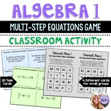 Algebra 1 - Solving Multi-Step Equations Connect 4 - Game Task Cards