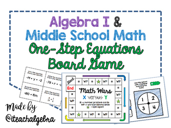 Algebra 1 and Grade 8 Middle School Math - Solving One-Step Equations Game Board