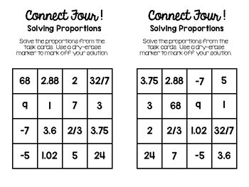 Algebra 1 - Solving Proportions Connect Four Game with Boards and Task Cards