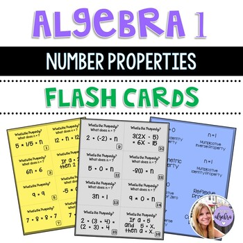 Algebra 1 - The Number Properties - 16 Flash Cards