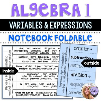Algebra I and Grade 8 Middle School Math Variables and Exp
