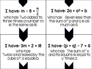 Algebra 1 - Translating and Writing Equations - Looping Task Cards