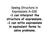 "Math - Alaska Standards: Algebra ""I can statements"""
