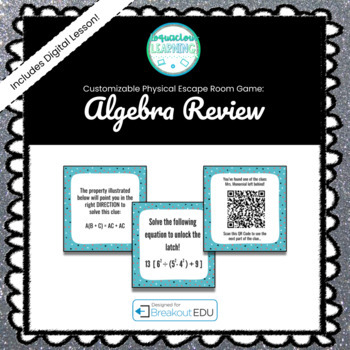 Algebra IB (Ch.1-4 Review)  Breakout Game - See Listing for Content