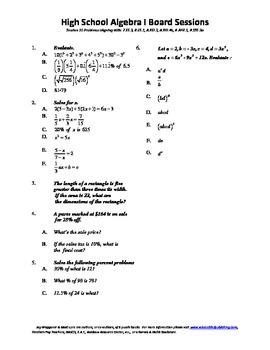 Algebra I,Board Session 10,Common Core Review,Quiz Bowl,Simplifying, polynomials