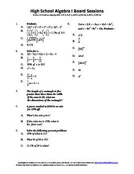 Algebra I,Board Session 10,Common Core Review,Quiz Bowl,Si