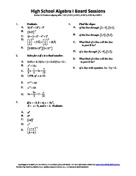 Algebra I,Board Session 12,Common Core Review,Quiz Bowl,lines,slopes