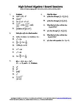 Algebra I,Board Session 12,Common Core Review,Quiz Bowl,li
