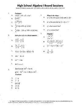 Algebra I,Board Session 13,Common Core Review,Quiz Bowl,lines,slopes