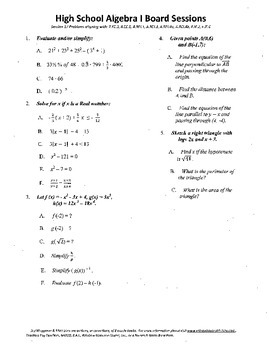 Algebra I,Board Session 17,Common Core Review,Quiz Bowl,functions,lines