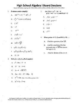 Algebra I,Board Session 19,Common Core Review,Quiz Bowl,ra