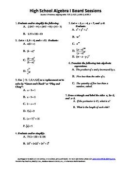Algebra I,Board Session 1,Common Core Review,Quiz Bowl,Sim