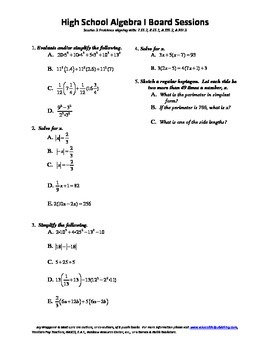 Algebra I,Board Session 3,Common Core Review,Quiz Bowl,Simplifying, Solving