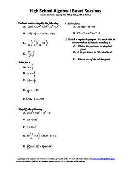 Algebra I,Board Session 3,Common Core Review,Quiz Bowl,Sim
