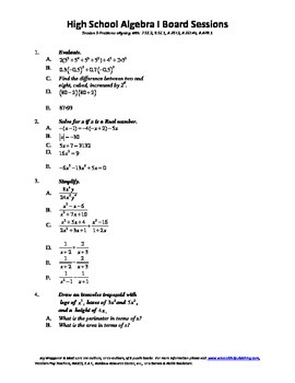 Algebra I,Board Session 9,Common Core Review,Quiz Bowl,Simplifying, factoring