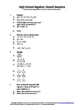 Algebra I,Board Session 9,Common Core Review,Quiz Bowl,Sim