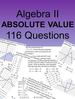 Algebra II 116 Multiple Choice Absolute Value SOL type questions