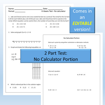 Algebra II 1st 6 Weeks Test {Editable and comes with a Task Card Review}