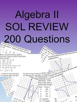 Algebra II 200 Multiple Choice SOL type questions
