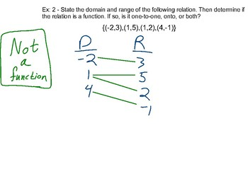 Algebra II Ch. 2.1 - Relations and Functions