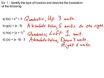 Algebra II Ch. 2.7 - Parent FUnctions and Transformations