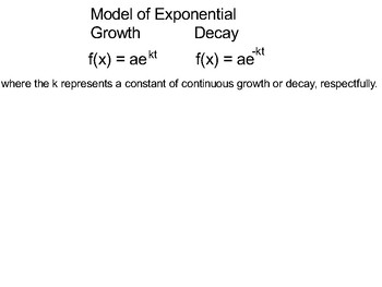 Algebra II Ch. 7.8 - Using Exponential and Logarithmic Functions