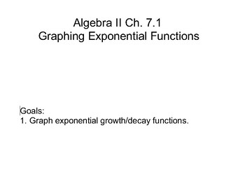 Algebra II Ch. 7 - Exponential and Logarithmic Functions and Relations