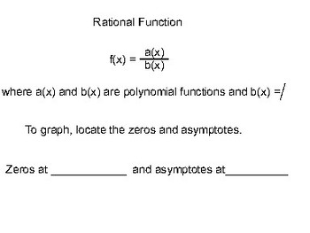 Algebra II Ch. 8.4 - Graphing Rational Functions