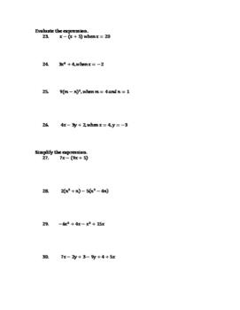 Algebra II Chapter 1 Review