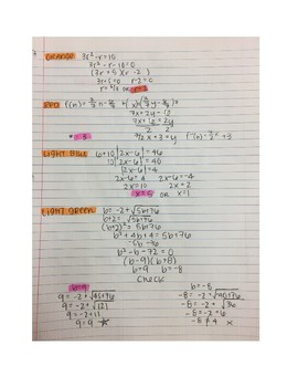 Algebra II Color-by-Number Review