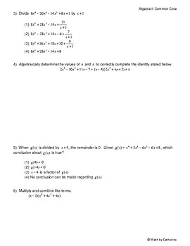 Algebra II Common Core Regents Review Topic #2- Multiplying and Dividing