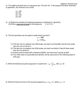Algebra II Common Core Regents Review Topic #8- Sequences & Series