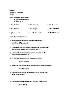 Algebra II:  Completing the square
