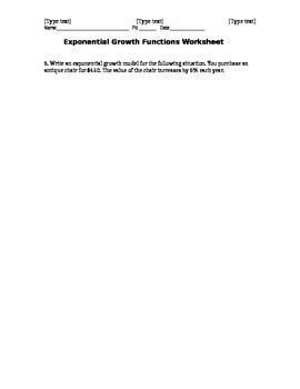 Algebra II Exponential Growth Functions Worksheet