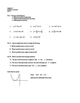 Algebra II :  Graphing quadratic functions worksheet