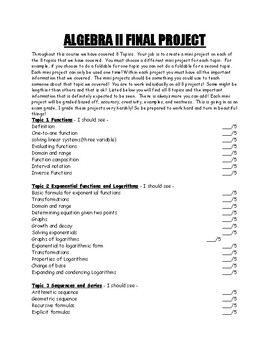 Algebra II Project