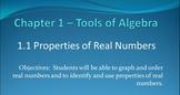 Algebra II Properties of Real Numbers