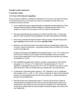Algebra II: Quadratics - Vertex Form (Prentice Hall 4.1) [DESMOS EXPLORATION]