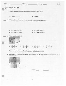 Algebra II Quiz Circles, Ellipses, Hyperbolas