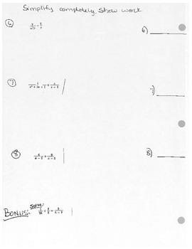 Algebra II Quiz Rational Expressions