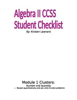 Algebra II CCSS Student Checklist