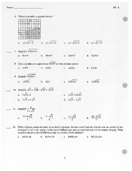 Algebra II Test - Composite functions, Radial Expressions and Equations