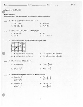Algebra II Test - Composite functions, Radial Expressions
