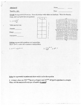 Algebra II Test Exponential and Logarithmic Functions