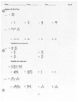 Algebra II Test - Rational Expressions and Equations
